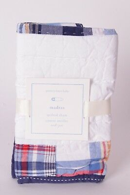 NWT Pottery Barn Kids Madras nursery crib small sham navy multi