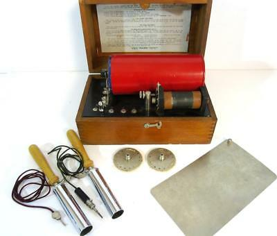 ANTIQUE GEORGE P. PILLING & SON MEDICAL-QUACKERY BATTERY w/DOVE TAIL WOOD CASE