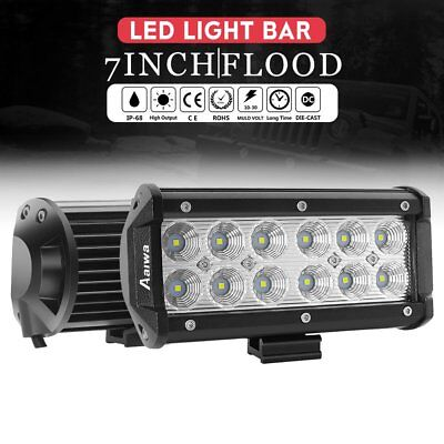 2x 7INCH 36W CREE LED Work Light Bar Offroad Driving Lamp 4WD ATV Flood SUV UTE