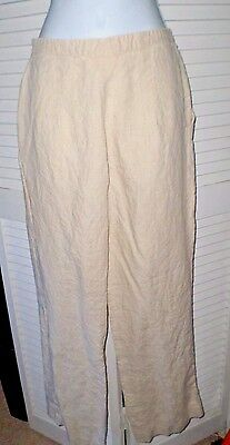 Brooks Brothers Size 4 Beige/Natural 100% Linen Pants Two Pocket Side Zipper