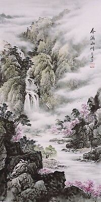 HANDPAINTED ORIGINAL FINE ART CHINESE FAMOUS WATERCOLOR PAINTING-Mountain&Flower