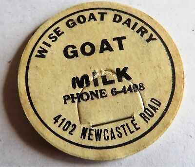 "Vintage Milk Cream Bottle Cap 1-5/8"" Wise Goat Dairy 4102 Newcastle Road"
