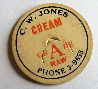 "Vintage Cream Bottle Cap 1-5/8""  C.W. Jones Dairy"