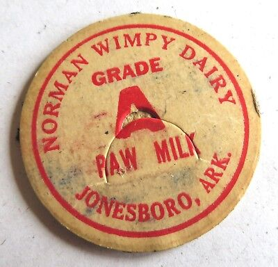 "Vintage Milk  Bottle Cap 1-5/8"" Norman Wimpy Dairy Jonesboro Arkansas"
