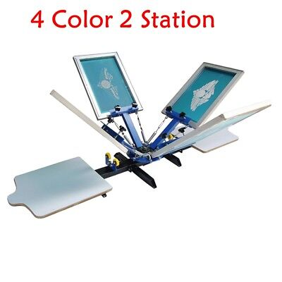 4 COLOR 2 Station Silk Screen Printing Machine DIY T-Shirt Fabric Printing