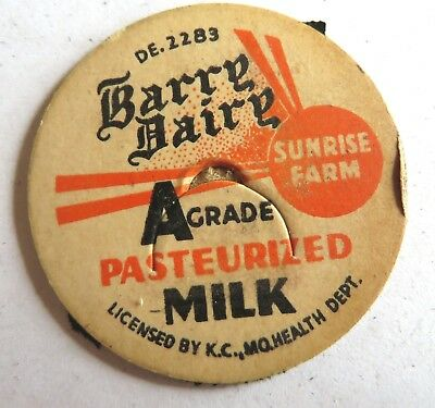 "Vintage Milk Cream Bottle Cap 1-5/8"" Barry Dairy Kansas City Missouri"