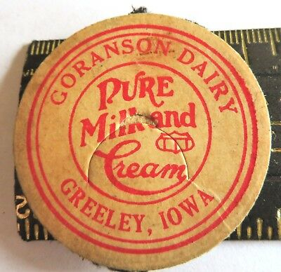 "Vintage Milk Cream Bottle Cap 1-5/8"" Gorsanson Dairy Greeley Iowa"