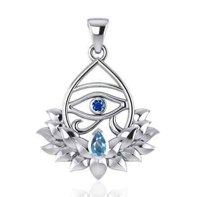 Eye of Horus Lotus Egyptian Sterling Silver Pendant by Peter Stone