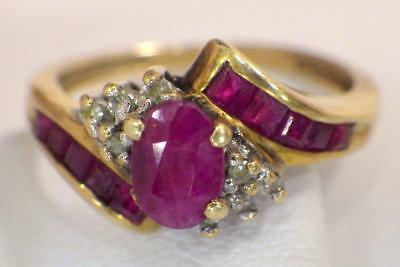 10KT Yellow GOLD Oval Natural Ruby Channel Baguettes Ring 2.036 Grams Size 7