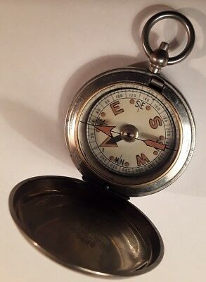 Antique 1917 F. Barker and Son London. Brass Pocket Compass