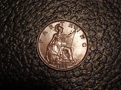 1928 Glossy Brown UNC Great Britain King George V Farthing WE COMBINE SHIPPING