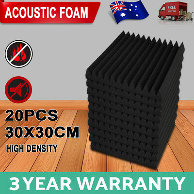 20PCS Studio Acoustic Foam Sound Proofing Absorbtion Tile Panel Wedge 30X30CM AU