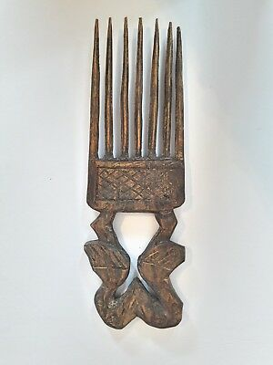 "Vintage African Hand Carved Wood Hair Pick 12.6"" × 4"" Large"