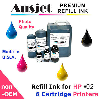 Ausjet Refill or CISS Ink for HP cartridge No.02, Photosmart desktop inkjet