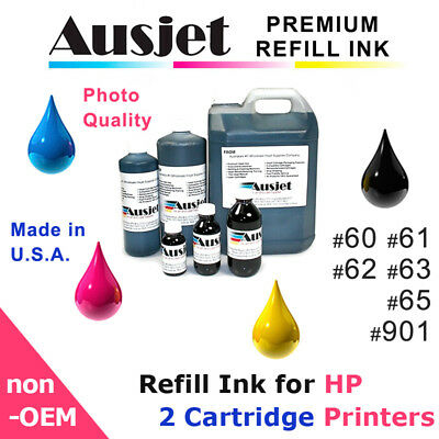 Ausjet Refill or CISS Ink for HP 60,61,62,63,65, #901 Deskjet, Officejet, Envy