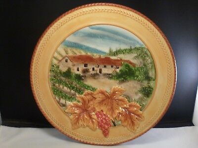 """Fitz & Floyd DEL VINO 12"""" Decorative Round Platter Plate or Wall Hanging"""