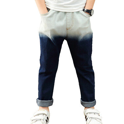 Kids Boys' Cool Gradient Soft Denim Elastic Waist Slim Jeans Age 3-13 Years