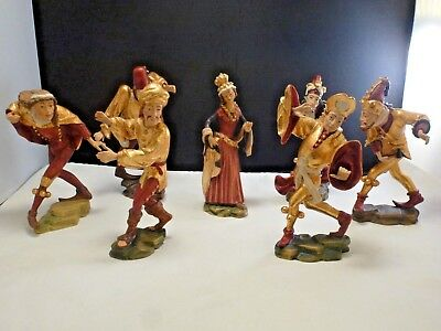 Rare German Hand Made Wood Carved Figures Set/ 7 Morisken Dancers 18K Gold Plate