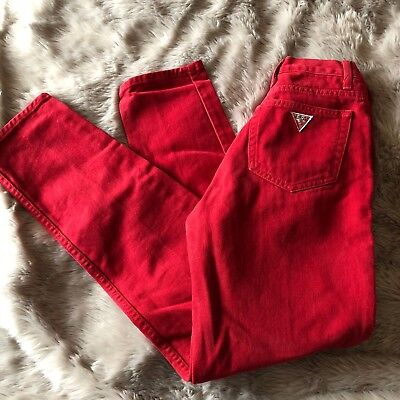 Vintage Guess Jeans Red Denim High Waisted Mom Jeans USA Made Women's Size 27
