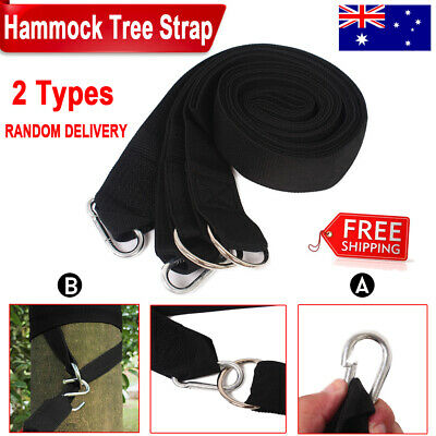 Hammock Bed Rope Tree Strap Strong Nylon Outdoor Camping Hanging Tool w/ 2 Hooks