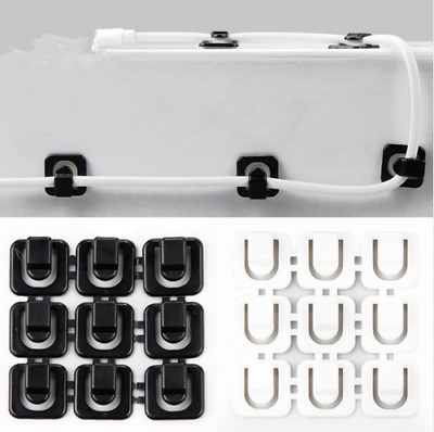 18pcs Cable Cord Wire Line Organizer Clips Adhesive Clamp Fixer Desk Wall Holder