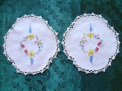 Pair Hand Embroidered Floral Small Doileys With Cream Hand Crocheted Edge