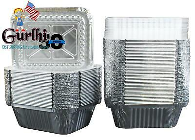 50 Pack Of Disposable Takeout Pans With Clear Lids 1 Lb Capacity Aluminum Foil N
