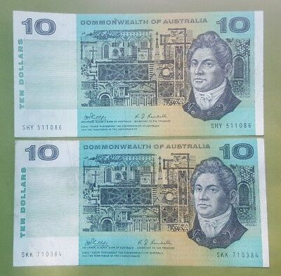 1968 Ten Dollar Commonwealth of Australian notes X Four.