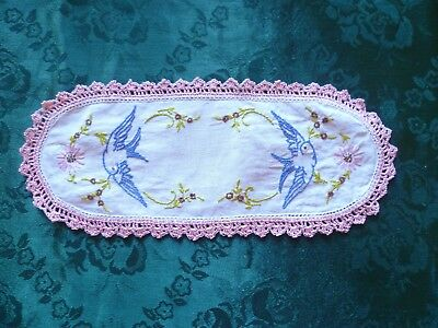 Vintage Hand Embroidered Blue Bird Sandwich Doiley Pink Hand Crocheted Edge