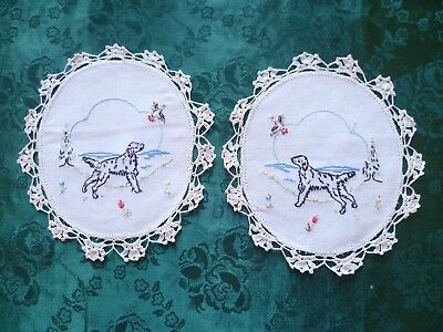 Pair Hand Embroidered Hunting Dogs Small Doileys With Cream Hand Crocheted Edge