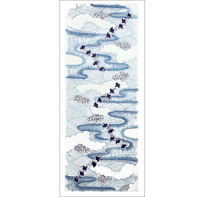 Japanese Tenugui Hand Dyed Fabric - Chidori Little Birds flying among the waves