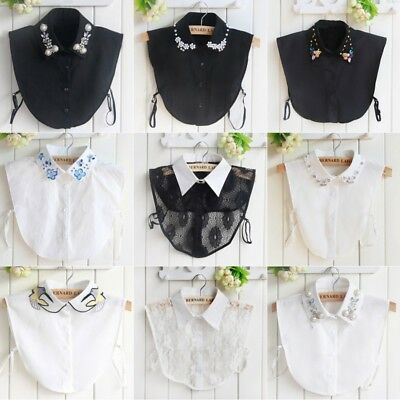Women Detachable False Collar Plaid Lapel Half Shirt Blouse Bib Choker Necklace