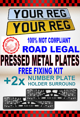 High Quality Embossed Metal Reg Number Plates & Holders - Pair 100% Uk Mot Legal