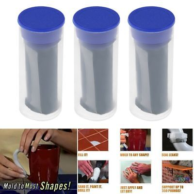 3 Pack Magic Mighty Putty Fill Seal Glue Tool + Gloves For Wood Ceramic Metal UK