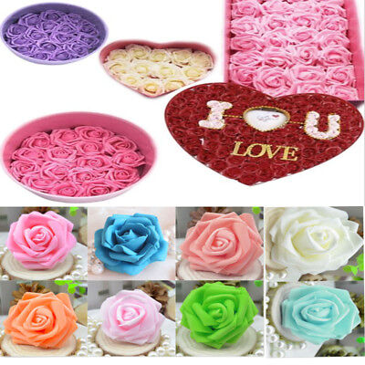 50  Foam Rose Heads Artificial Flowers Wedding Bride Bouquet Party Decor DIY USA