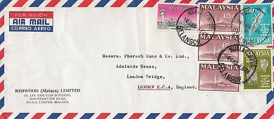 P 2076 Malaysia KL Feb 1966 air cover UK; $1.60c rate; 6 stamps