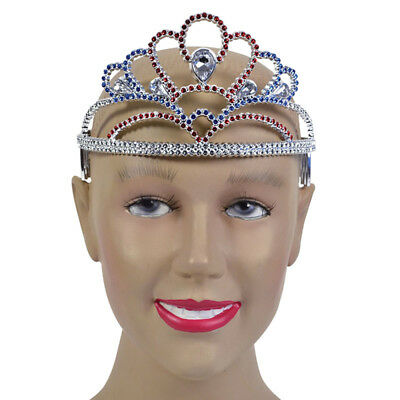 British Plastic Princess Tiara Red Silver Blue Fancy Dress Adult Queen Accessory