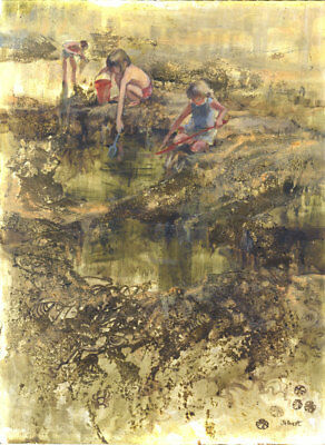 Wendy Jelbert - Signed Mid 20th Century Mixed Media, Rock Pools
