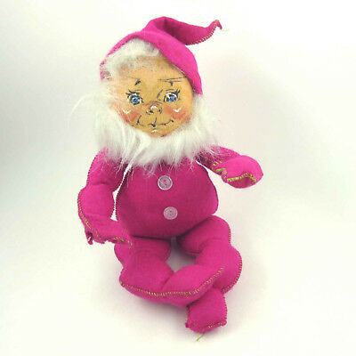 "1967 Annalee Mobilitee Doll 7"" Fuchsia or Pink Gnome Elf with Beard Open Eyes"