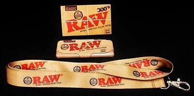 1 Box Raw Classic 1 1/4 Natural 300's Rolling Papers Lanyard & 1 1/4 Tin