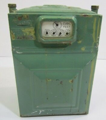 Vintage American Meter Co Albany New York Natural Gas Green Tin Aluminum? 5 Dial