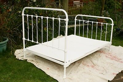 Orginal Vintage French Iron Bed Frame , Small Double. Painted white.