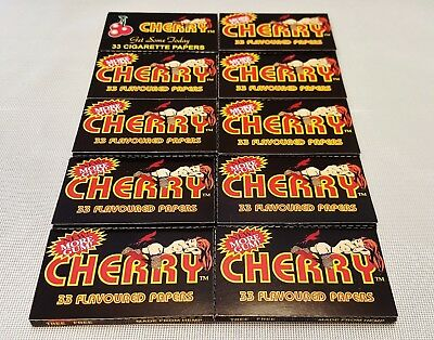 10 Packs Cherry Flavored Gummed Cigarette Rolling Papers 33 Leaves Per Pack