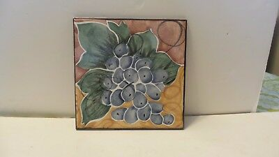 "Vintage Levy-Larocque Studio Art Pottery 6"" square Tile Wall Plaque ""Grapes"""