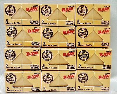 12 Boxes Raw Classic Single Wide Natural Unrefined 5 Meter Rolls Rolling Papers