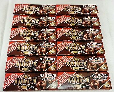 12 Packs JUICY JAY'S  1 1/4 Rolling Papers Milk Chocolate Free Ship