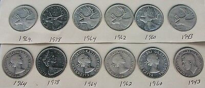 6 Silver Canadian Quarters . 1943-1960-1962-1964-1964-1978