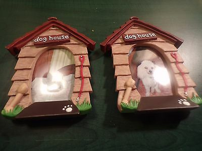 Dog House Free Standing Picture Frames  Ceramic   Two Frames