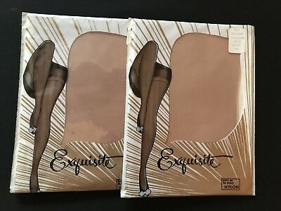 2 Pr Lot Vintage Seamless Exquisite Nylon Stockings Hosiery New, size 9.5 Beige