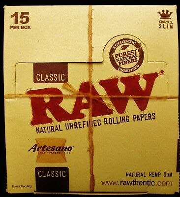 15X Box Raw Classic Artesano King Size Slim Unrefined Rolling Papers Tips & Tray